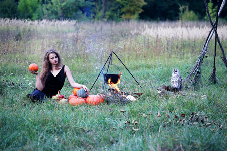 potion: Witch preparing a potion in the meadow Stock Photo