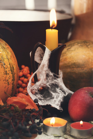 Halloween still life with pumpkins. Studio shot Stock Photo