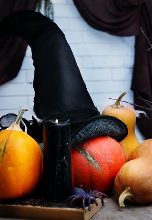 wood spider: Halloween still life with pumpkins. Studio shot Stock Photo
