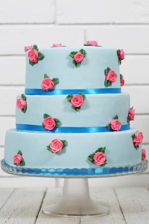 Blue three-tiered cake