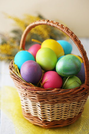 copys pace: Basket with eggs Stock Photo