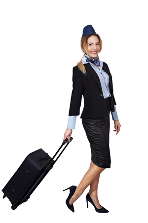 Stewardess with a bag Stock Photo