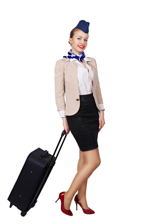 Stewardess with a bag Stock Photo
