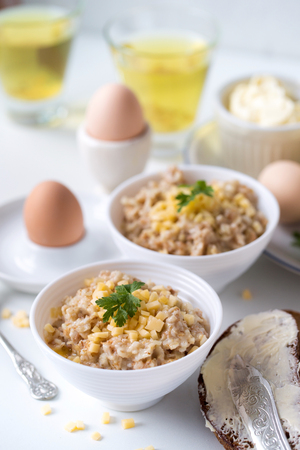 Oatmeal with butter and cheese