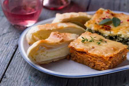 Lasagna and Camembert cheese pie