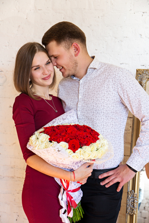 couple with a bouquet