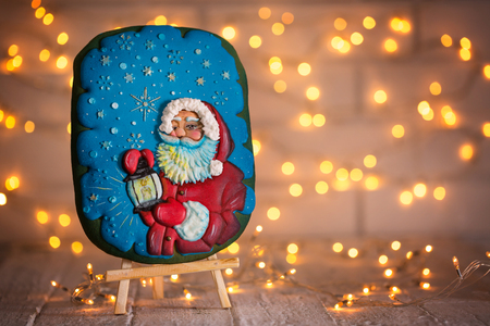cookie with the image of Santa