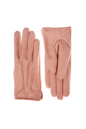 pink suede gloves 스톡 콘텐츠