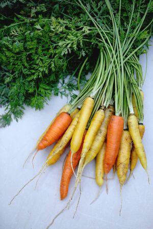 Orange und gelbe Karotten auf einem hölzernen Hintergrund