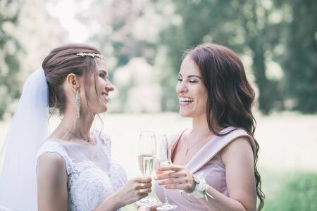newlyweds with guests drink champagne in the park Imagens