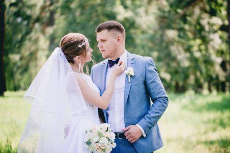 Das Brautpaar geht über die Wiese, Blick von hinten Standard-Bild