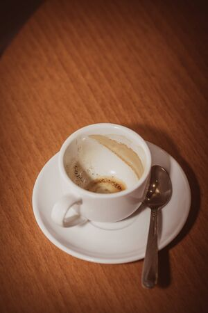 Empty cup of coffee on the table