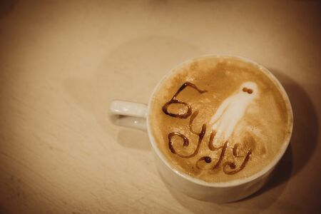 Cappuccino with the image of a ghost and the inscription. halloween concept Stock Photo