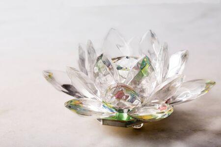 Crystal lotus flower, ball and pyramid. Reiki concept