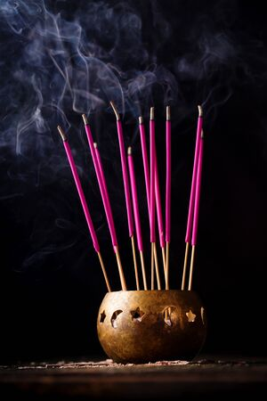 Aroma sticks for energy cleaning the room. Reiki concept