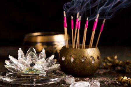 crystal lotus for work in reiki stream. Reiki concept