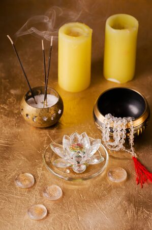 items to create a state of meditation in reiki flow Archivio Fotografico