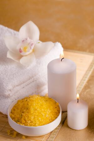 Items for energetic cleaning feet in a stream of reiki Archivio Fotografico