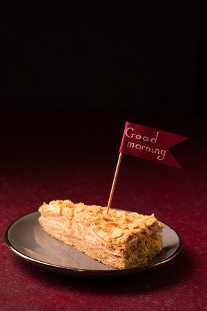 slice of delicious napoleon cake good morning wishes Stock fotó