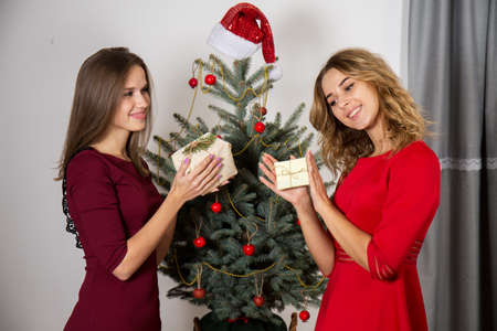 Two beautiful young women exchange gifts near the christmas tree