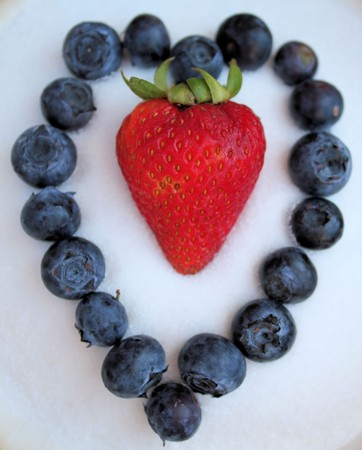 Sweet Berries Shaped as Colorful Heart