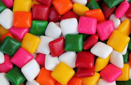 Colorful Square Gum Shot Close Up