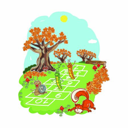 Squirrel playing hopscotch vector drawing Stock Illustratie