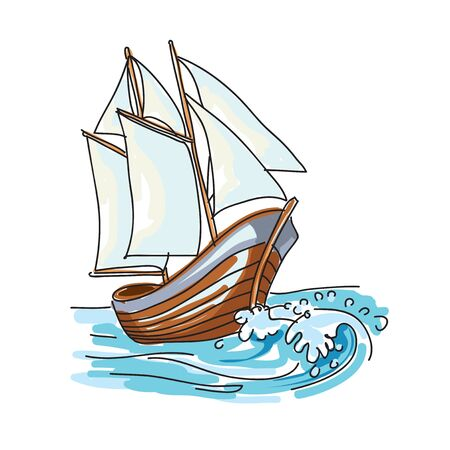 Old boat vector isolated