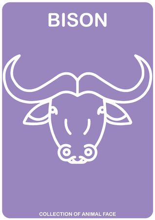 Bison face - Animal Isolated Vector Icon - animal head