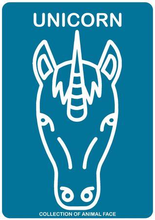 Unicorn face - Animal Isolated Vector Icon - animal head Illustration
