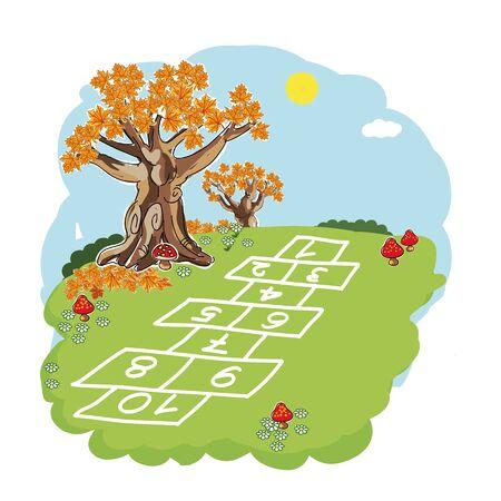 Hopscotch on grass nature vector illustration