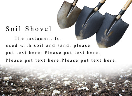 background soil shovel and soil, used with presentation or brochue to promote your goods.