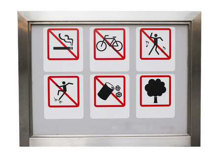safty: Realistic Six safty caution prohibit sign in the aluminium frame : All including no smoking, No cycles, No dancing, No trash, No skate and tree. Stock Photo