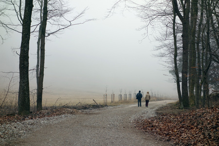 unrecognizable: two unrecognizable Persons hiking along a foggy path Stock Photo