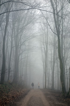mid distance: two unrecognizable Persons hiking along a foggy path Stock Photo