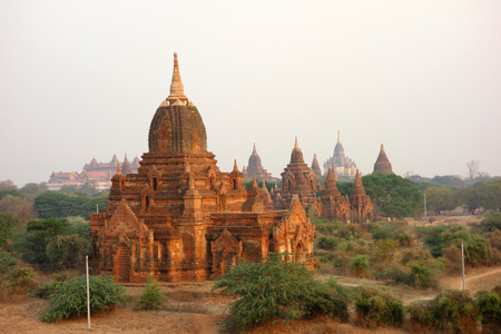 View over temples, pagodas and stupas of Bagan (Myanmar) Stock Photo