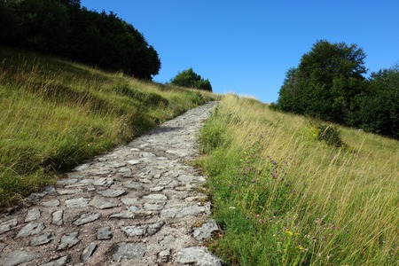 stone path: Stone path leading to Monte Baldo, Italy