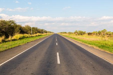 National Route 9 Paraguayan runs through a forest and grasses. Ruta Nacional N?mero 9 Dr. Carlos Antonio L?pez. Ruta Transchaco. White dashed central line. 版權商用圖片