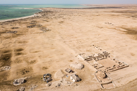 Al Zubarah (Az Zubara), ruined ancient Arabian town, north-western coast of the Qatar peninsula, Al Shamal. 版權商用圖片