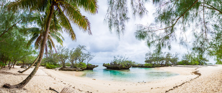 View of yellow white sandy tropical beach under palm trees in a secluded bay with coral rocks. Rimatara island, Austral / Tubuai islands, French Polynesia around Tahiti, Oceania, South Pacific Ocean.
