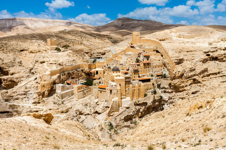 Holy Lavra of Saint Sabbas, Mar Saba, Eastern Orthodox Christian monastery overlooking the Kidron Valley halfway the Old City of Jerusalem and the Dead Sea. West Bank, Palestine, Israel. Imagens