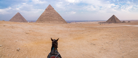 Evening desert and Giza pyramids with a horse on foreground, no tourists, near Cairo, Egypt. Great Pyramid of Giza, Pyramid of Khafre, Pyramid of Menkaure.