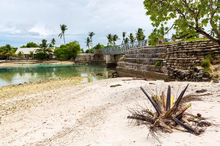 Bonriki-Buota bridge between islets over lagoon, South Tarawa, Kiribati, Micronesia, Oceania, South Pacific Ocean.