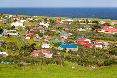 Edinburgh of the Seven Seas town aerial panoramic view, Tristan da Cunha, the most remote inhabited island, South Atlantic Ocean, British Overseas Territory.