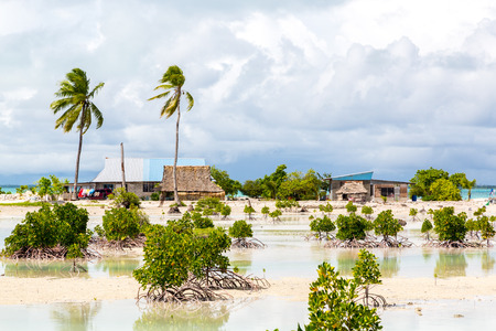 Village on South Tarawa atoll, Kiribati, Gilbert islands, Micronesia, Oceania. Thatched roof houses. Rural life on a sandy beach of remote paradise atoll island under palms and with mangroves around. Archivio Fotografico