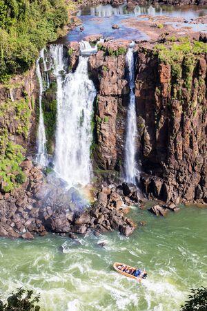 Water IGUAZU Falls. Border between Brazil and Argentina. Iguazu Falls boat ride experience. South America. Latin America.