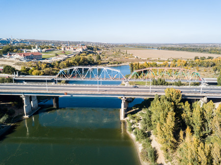Aerial view of Peacekeepers bridge over Dniester river in Bendery (Bender), in unrecognised Pridnestrovian Moldavian Republic (Transnistria; PMR), officially Moldova. Key point in Battle for Bendery. Stock Photo