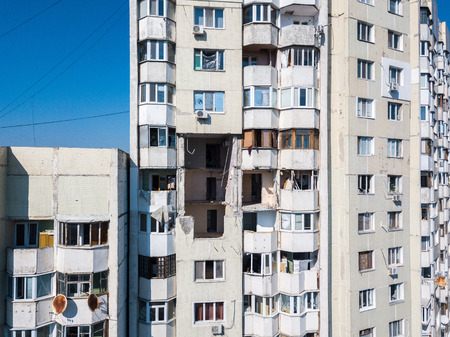 The collapse of soviet style panel high-rise building destroyed by the explosion of a gas tank in the center of Chisinau, Moldova on October 6, 2018.