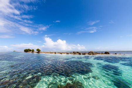 Azure turquoise blue lagoon with corals with a small uninhabited reef island motu full of dangerous rocks and some mangroves trees, under blue sky on a sunny day. Pohnpei island, Micronesia, Oceania Imagens