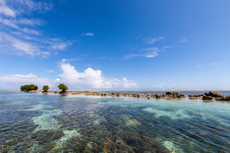 Azure turquoise blue lagoon with corals with a small uninhabited reef island motu full of dangerous rocks and some mangroves trees, under blue sky on a sunny day. Pohnpei island, Micronesia, Oceania Archivio Fotografico